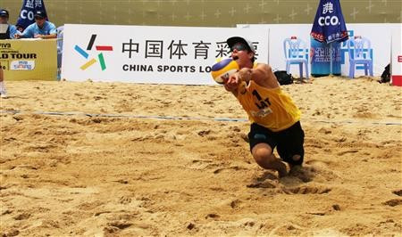 Latvian qualifiers Rihards Finsters (pictured) and Edgars Tocs upset Spain's Alfredo Marco and Christian Garcia to reach the men's main draw at the FIVB World Tour Xiamen Open in China ©FIVB