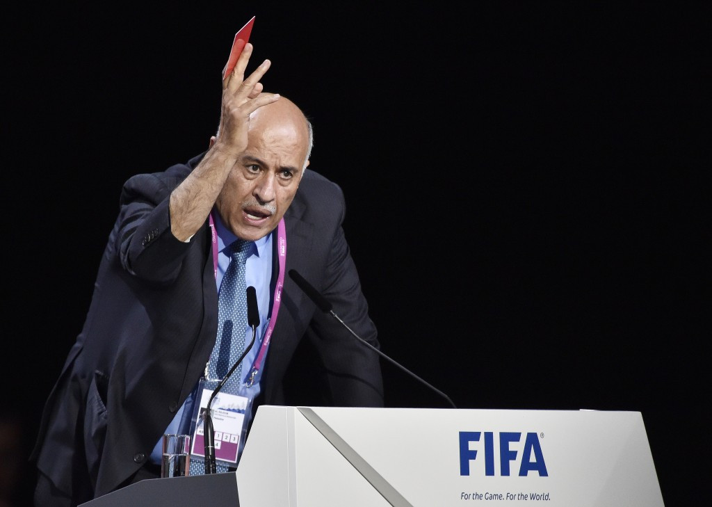 Jibril Rajoub addressing the FIFA Congress during his speech today ©Getty Images