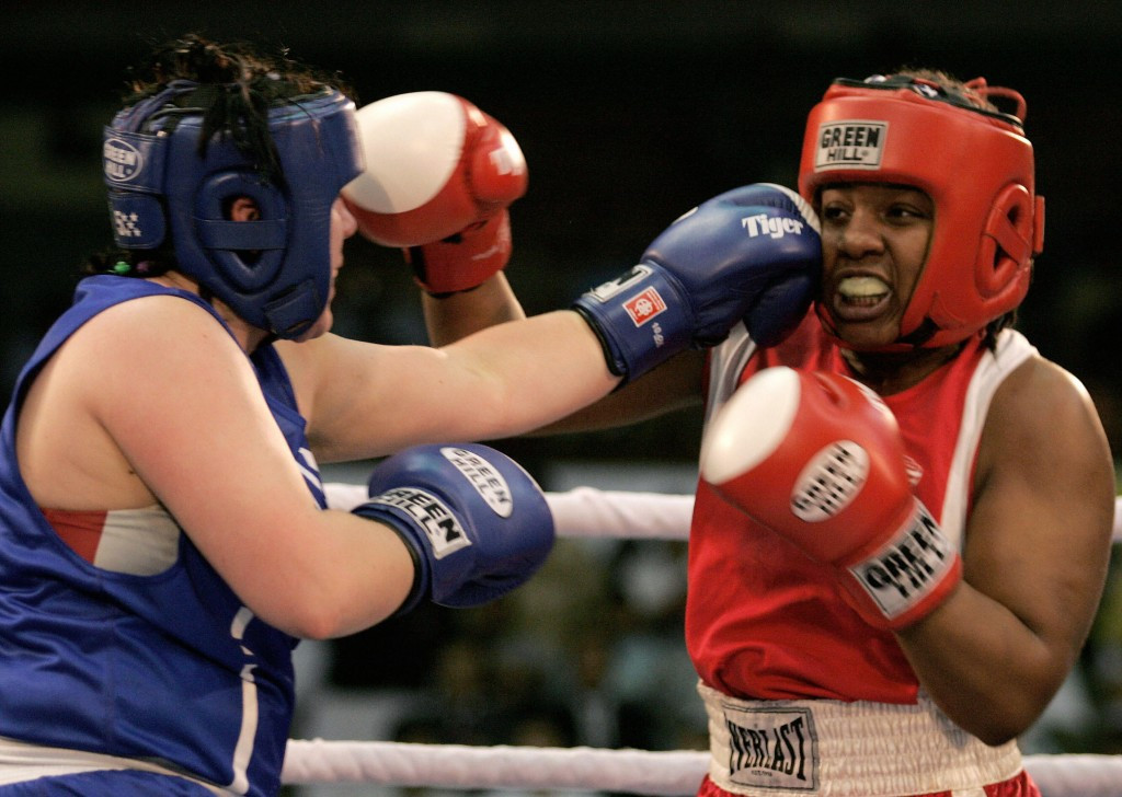 Irina Sinetskaya (left) was one of Russia's four gold medallists at the inaugural AIBA Women's World Boxing Championships, held in Scranton in 2001