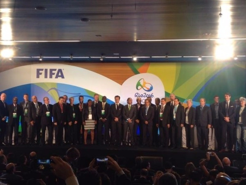Coaches of all the male and female teams gathering on stage after the draw ©Rio 2016
