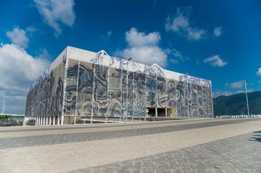 Artwork by Adriana Varejão adorns the Olympic Aquatics Stadium in the main Olympic Park ©Rio 2016/Alex Ferro