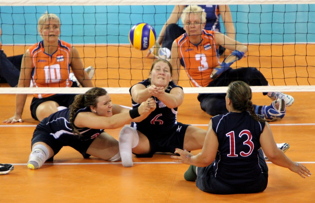 Heather Erickson, centre, the United States' sitting volleyball player, came second in the polls ©Getty Images