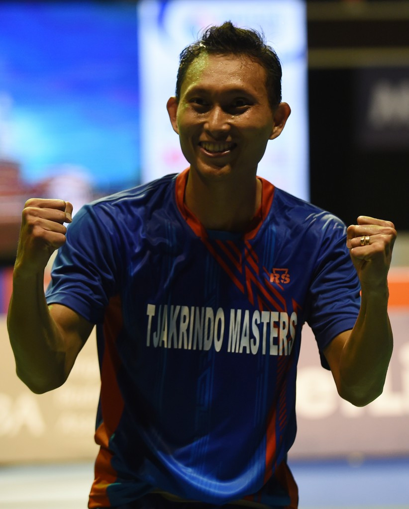 Sony Dwi Kuncoro celebrates his win over Lin Dan today ©Getty Images