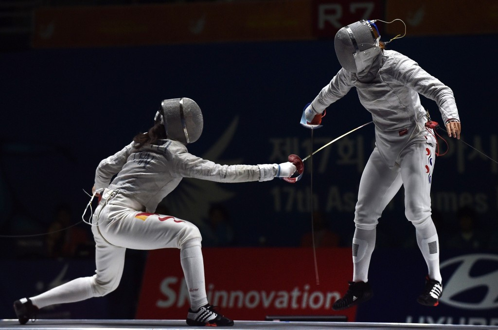 Shen Chen (left) helped China secure the women's team sabre title at the Asian Fencing Championships ©Getty Images