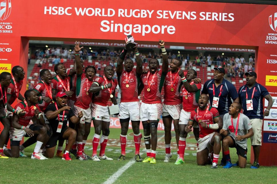 Kenya lift maiden title with shock win over Fiji at Singapore Sevens