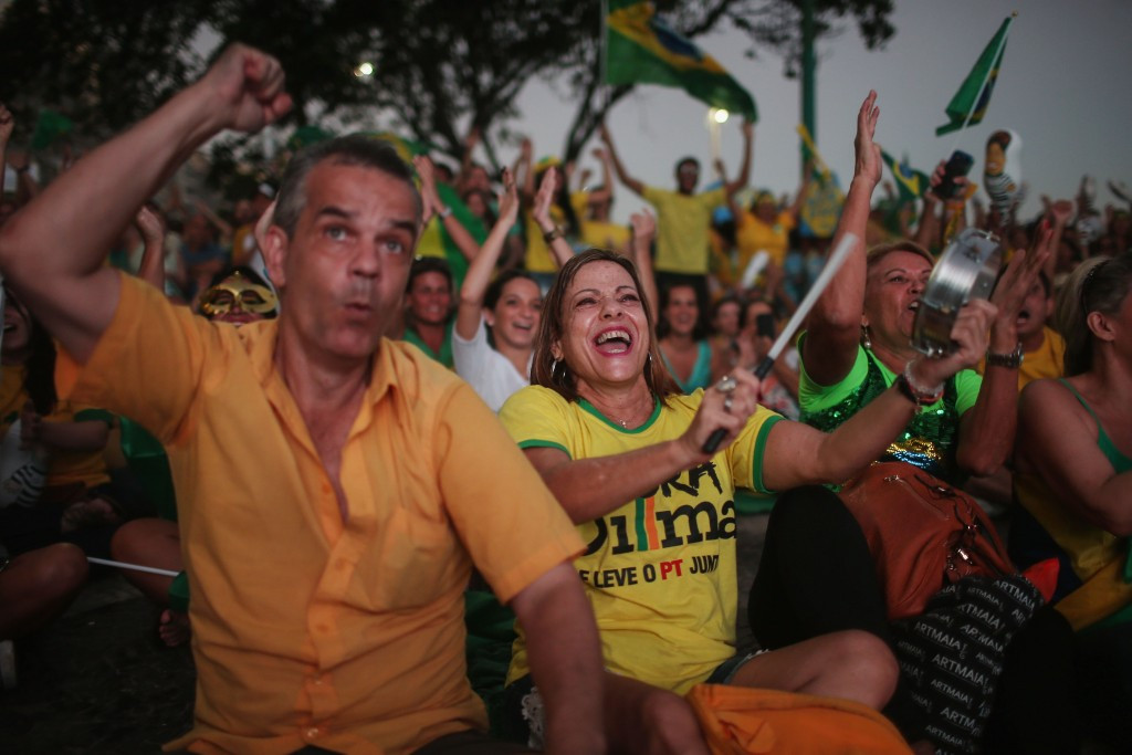 Protesters in Rio de Janeiro celebrate the successful impeachment vote against Dilma Rousseff ©Getty Images