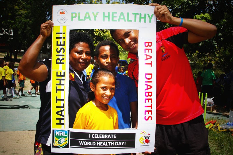 The Papua New Guinea Olympic Committee promoted a healthy living message to children ©PNGOC