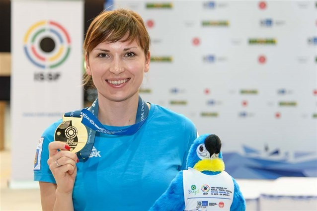 Athens 2004 champion Olena Kostevych was triumphant in Rio ©ISSF
