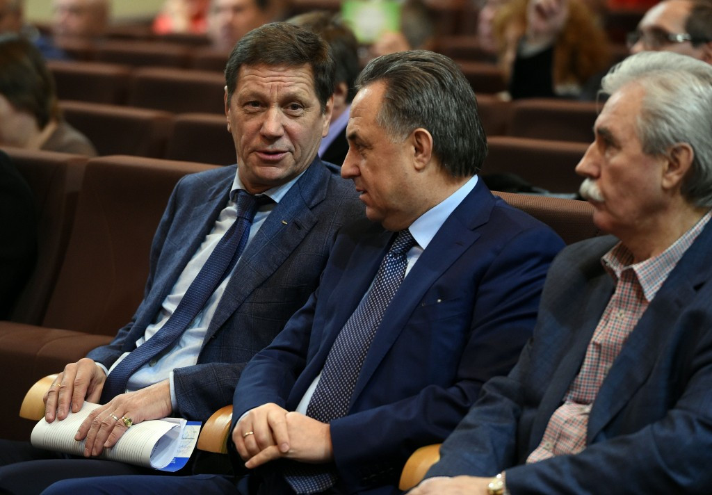 Vitaly Mutko (centre), pictured with Russian Olympic Committee head Alexander Zhukov has repeatedly criticised WADA for their handling of meldonium ©Getty Images