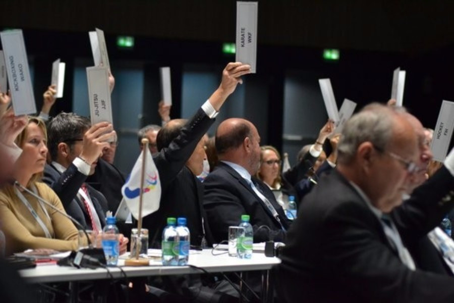 Delegates approving the new IWGA constitution during the meeting today ©IWGA/Twitter
