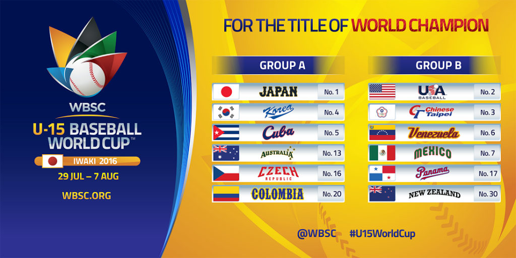 Defending champions Cuba to meet Japan in group stage of WBSC Under-15 Baseball World Cup