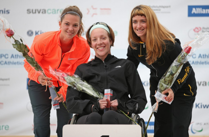 The Netherlands' Marlou van Rhijn (left), Canada's Becky Richter (centre) and Italy's Martina Caironi (right) were three of four 100m world record breakers on day two of the IPC Athletics Grand Prix