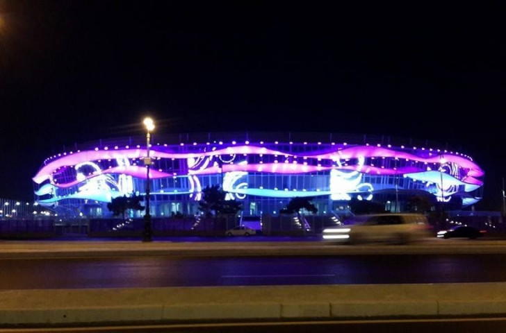 The National Gymnastics Arena is a spectacular site when night falls ©ITG