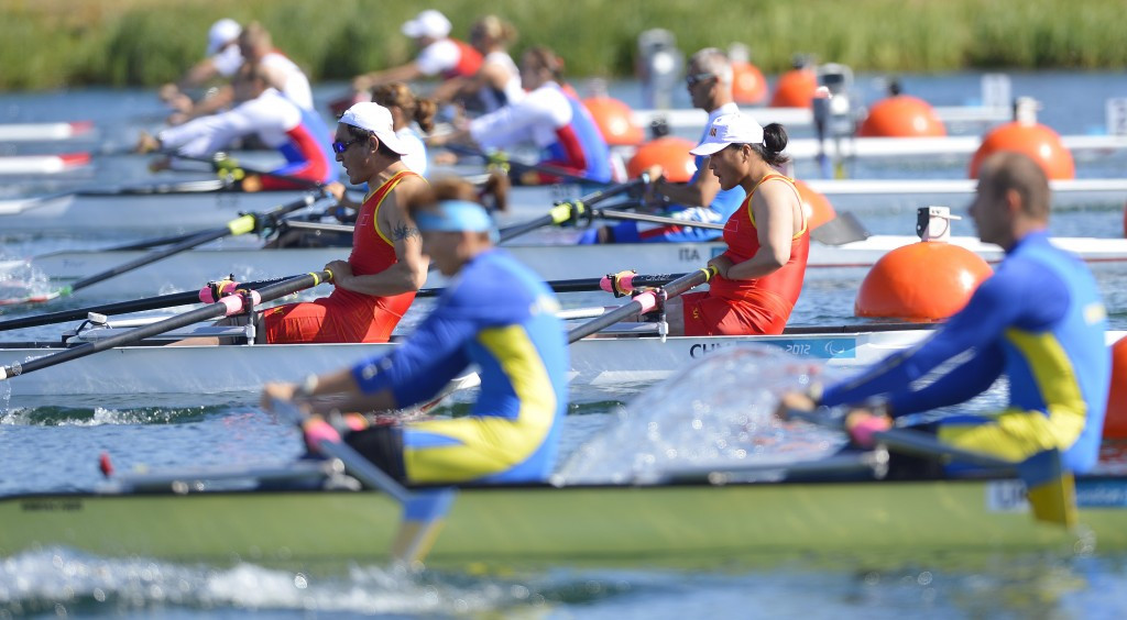 China's Shuang Liu and Tianming Fei, left, won the mixed doubles sculls at the World Rowing Final Paralympic Qualification Regatta in Gavirate to secure a place in the Paralympics at Rio 2016 ©Getty Images