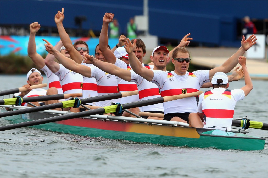 The German men's eight, pictured winning the London 2012 title, regained its No1 spot in Poznan after successive defeats by Britain at the world championships ©Getty Images