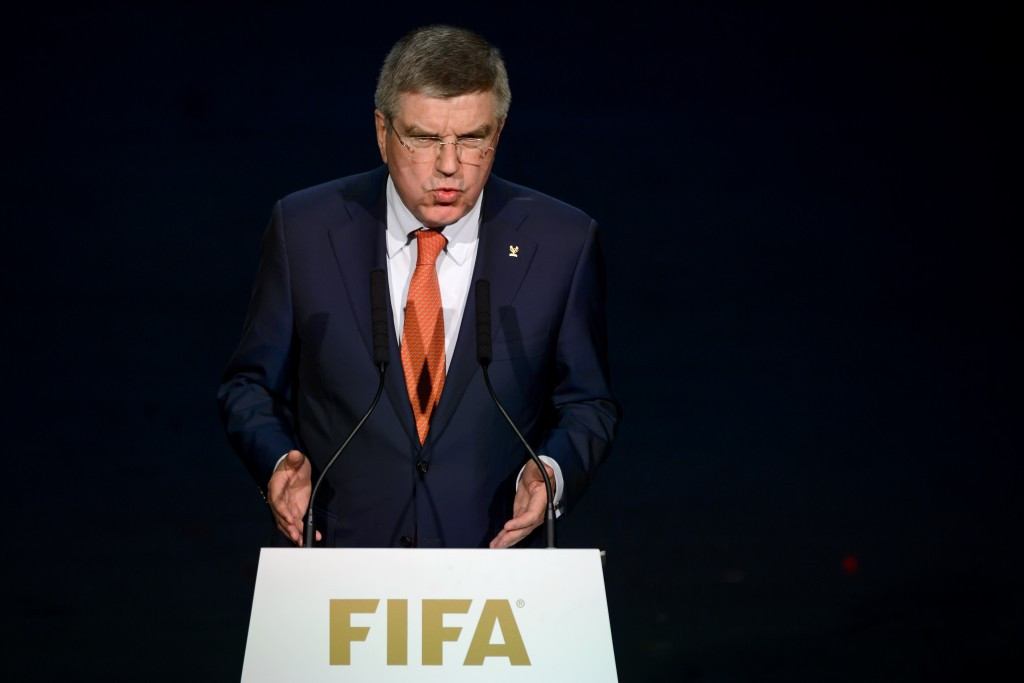 Thomas Bach, pictured speaking at the FIFA Congress in Zurich, is the subject of most of Marius Vizer's criticisms ©Getty Images