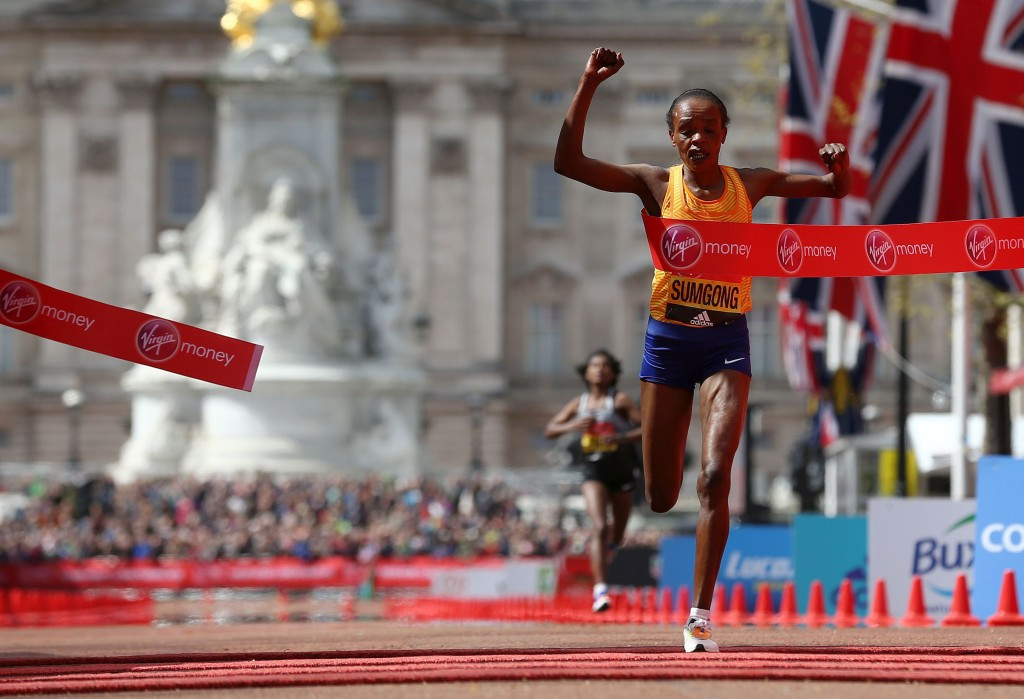 Jemima Sumgong recovered from a fall to win the women's race ©Getty Images