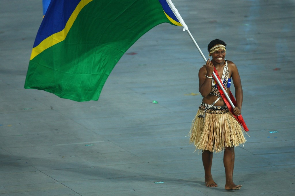 Weightlifter Wendy Hale, pictured bearing the Solomon Islands flag at the 2008 Beijing Olympics ©Getty Images