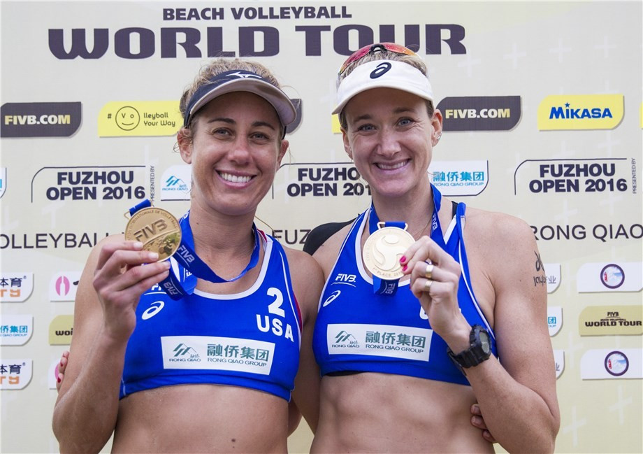 Olympic champion Kerri Walsh-Jennings and partner April Ross completed a clean sweep for the United States by clinching gold ©FIVB