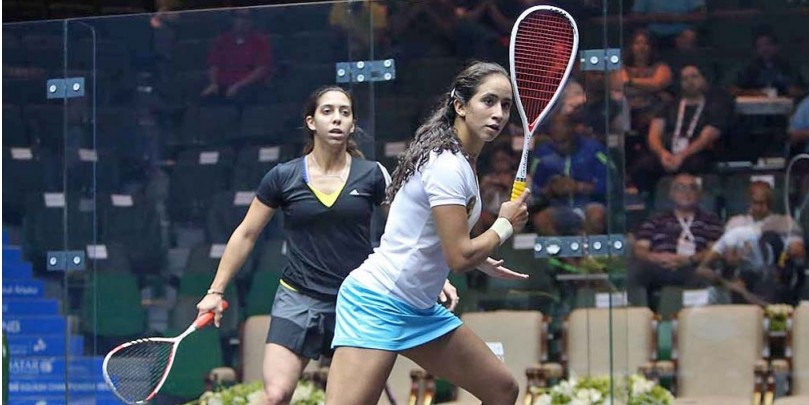 Egyptian world number 50 Nadine Shahin (left) stunned second qualifying seed Line Hansen of Denmark to reach the main draw ©PSA