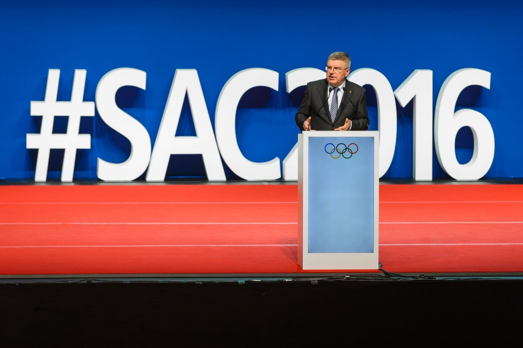IOC President Thomas Bach addressed the Opening Ceremony of the SportAccord Convention ©Getty Images