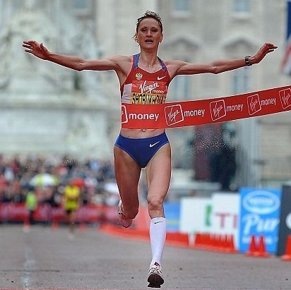 Liliya Shobukhova crosses the line first in the 2010 London Marathon was later disqualified for doping ©Getty Images