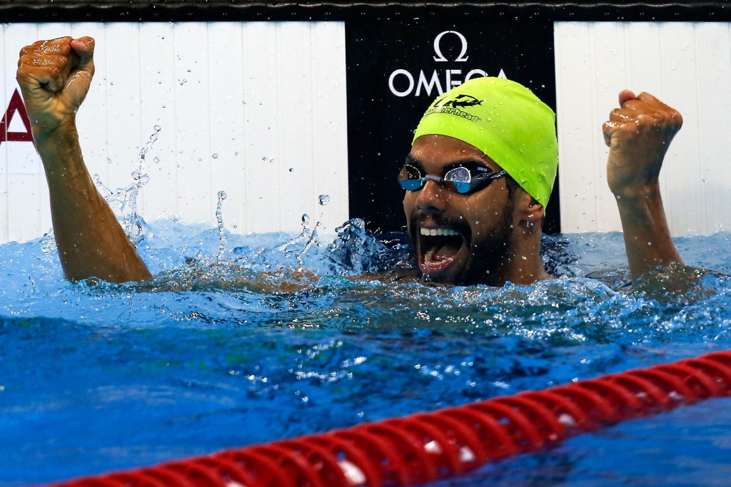 André Brasil was on dominant and unbeaten form throughout the test event Daniel Dias swims in the 50m freestyle S5 final ©Getty Images