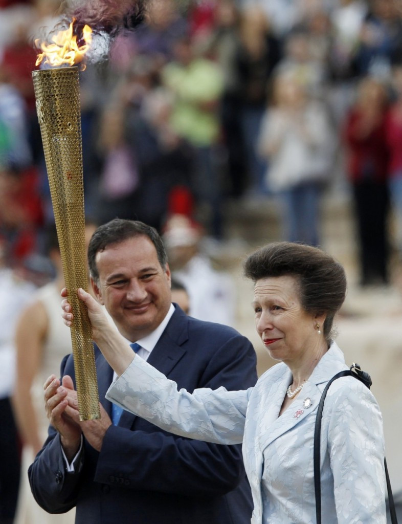 The Princess Royal accepted the Olympic flame on behalf of London 2012