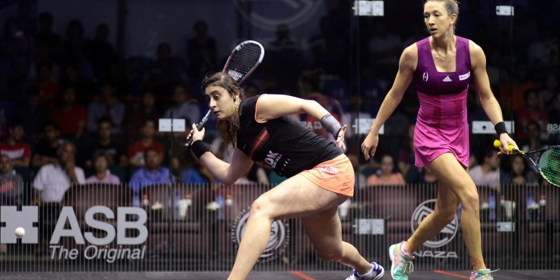 Nour El Sherbini of Egypt cruised through to round two by beating Donna Urquhart