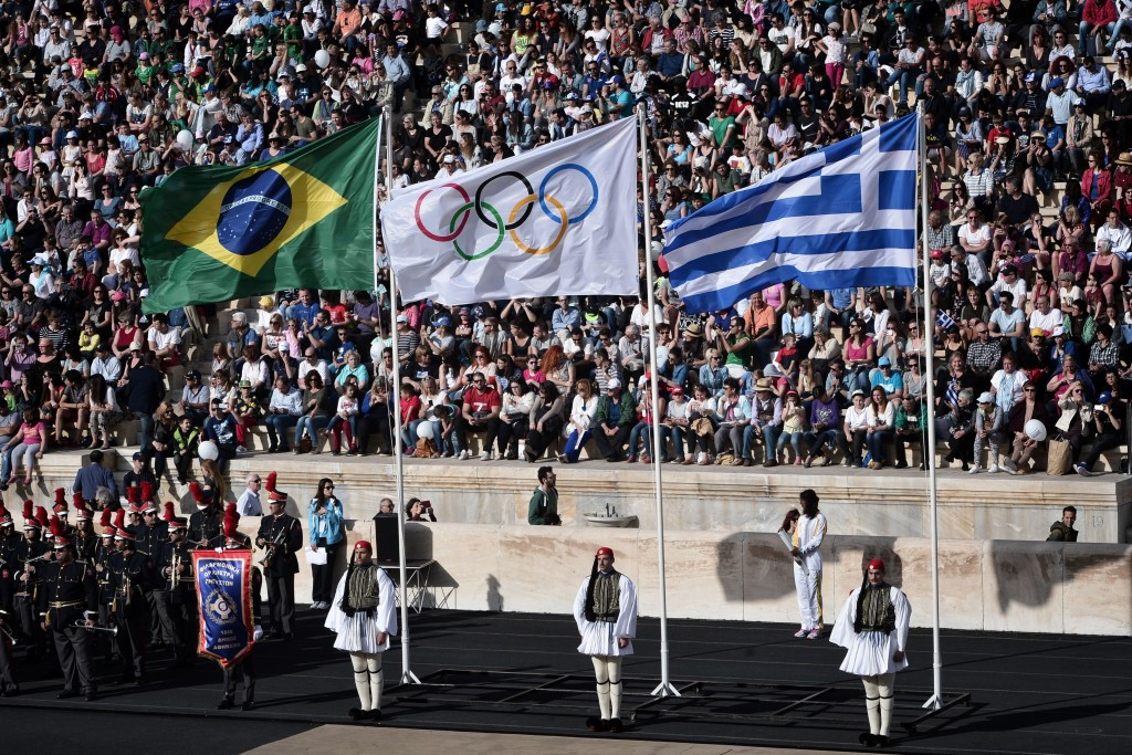 The Olympic flame was officially passed over to Rio 2016 at Panathinaiko Stadium in Athens ©Getty Images
