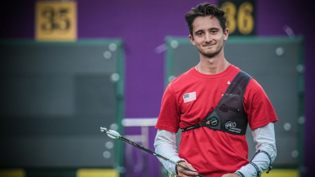 Garrett flies the flag for America at Archery World Cup in Shanghai