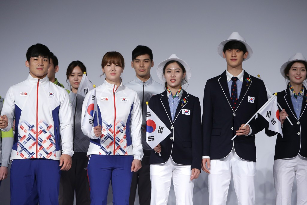 """South Korean athletes pose with their """"Zika-proof"""" uniform for Rio 2016 ©Getty Images"""