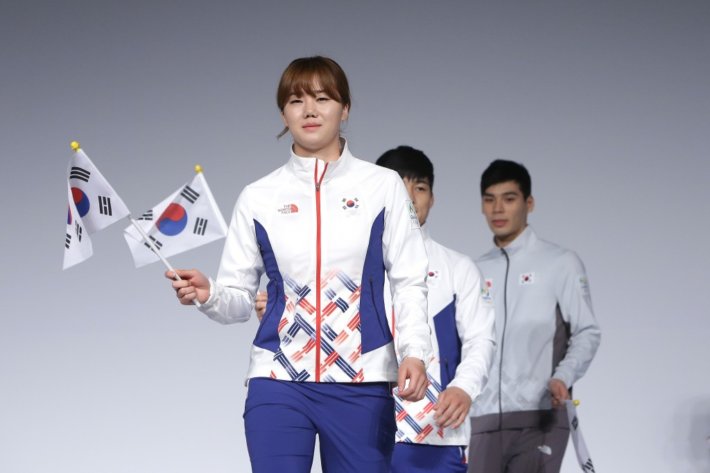 South Korean Olympians and models pose during the Official Uniform Launch ©Getty Images