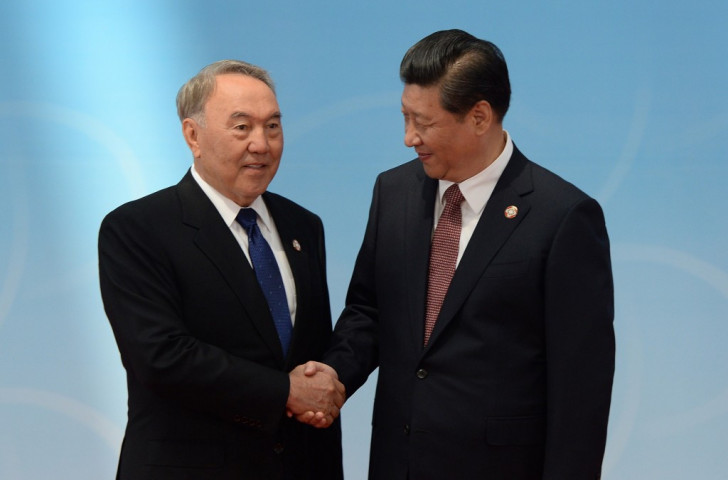 Kazakhstan President Nursultan Nazarbayev (left), ruler since Kazakh independence in 1991, has been less strong in his backing than Chinese counterpart Xi Jinping, although both have expressed their support  ©AFP/Getty Images