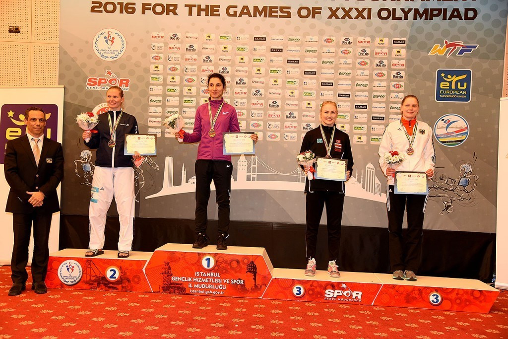 Raheleh Asemani stands on top of the podium at the European Qualification Tournament in Istanbul