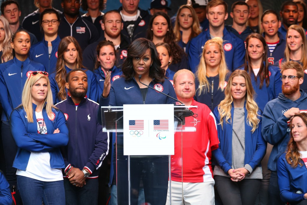 Michelle Obama has announced the United States Olympic Committee (USOC) commitment to help get two million American children active ©Getty Images