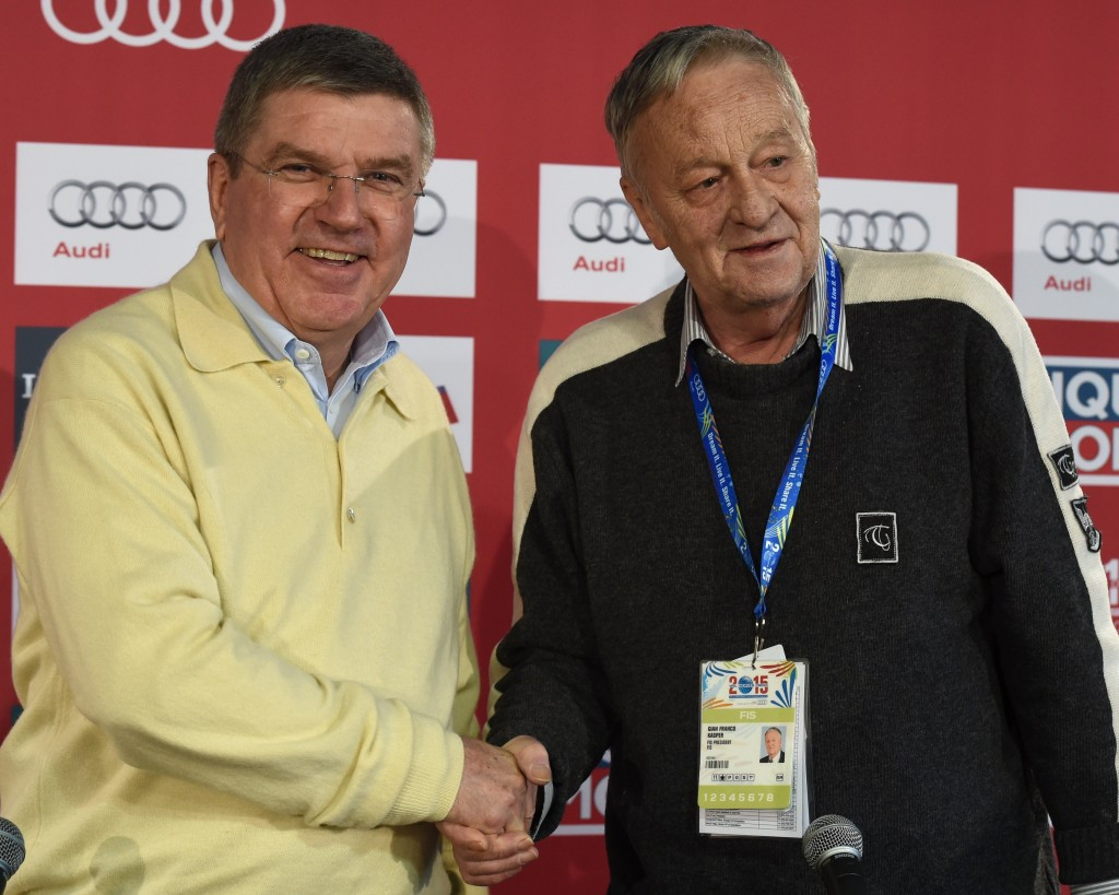 A contest will take place to replace interim President Gian-Franco Kasper (pictured, right, with IOC President Thomas Bach) during the General Assembly in Sochi ©Getty Images