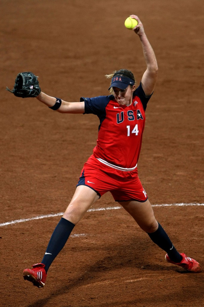Monica Abbott pitching at the Beijing 2008 Olympics, where the Americans won silver