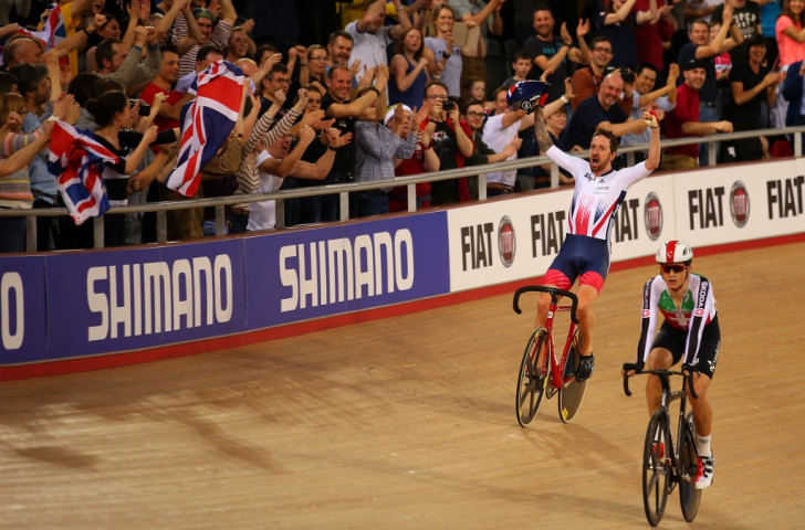 Sir Bradley Wiggins celebrates with home fans at the Lee Valley VeloPark after winning the Madison event at the UCI World Track Cycling Championships held in March ©Getty Images