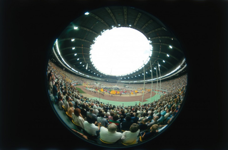 A fish-eye image of the Opening Ceremony at the 1976 Montreal Olympics in the stadium that has come to be known as the