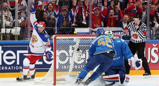 Hosts Russia claim first IIHF World Championship win against battling Kazakhstan
