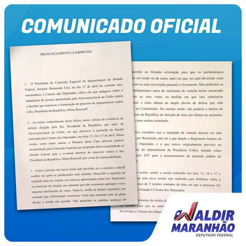 Waldir Maranhao released a statement announcing the news