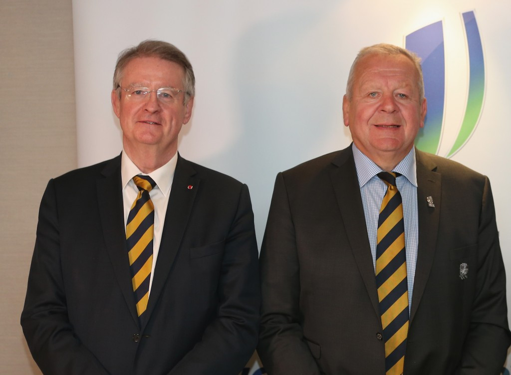 Bill Beaumont (right) will succeed Bernard Lapasset (left) as World Rugby chairman