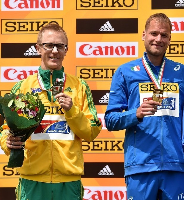 Jared Tallent (left) has criticised the decision to allow Alex Schwazer (right) to compete at the World Race Walking Team Championships ©Getty Images