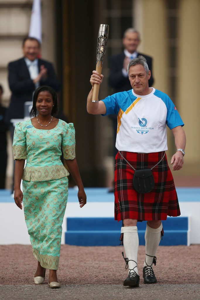Moscow 1980 100m champion Allan Wells, pictured opening the Commonwealth Games Queen's Baton Relay in 2013, has also been accused of doping ©Getty Images