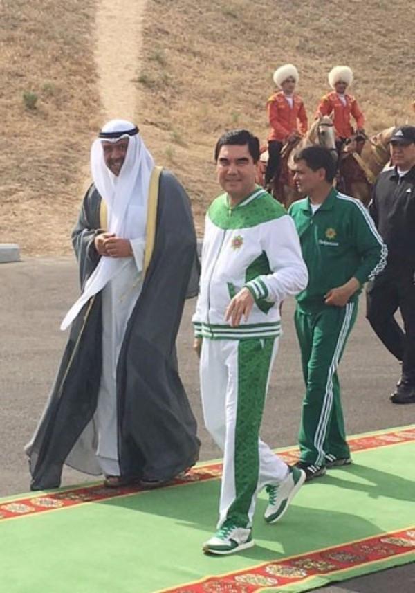 Sheikh Ahmad Al-Fahad Al-Sabah pictured on his inspection visit to Ashgabat ©OCA