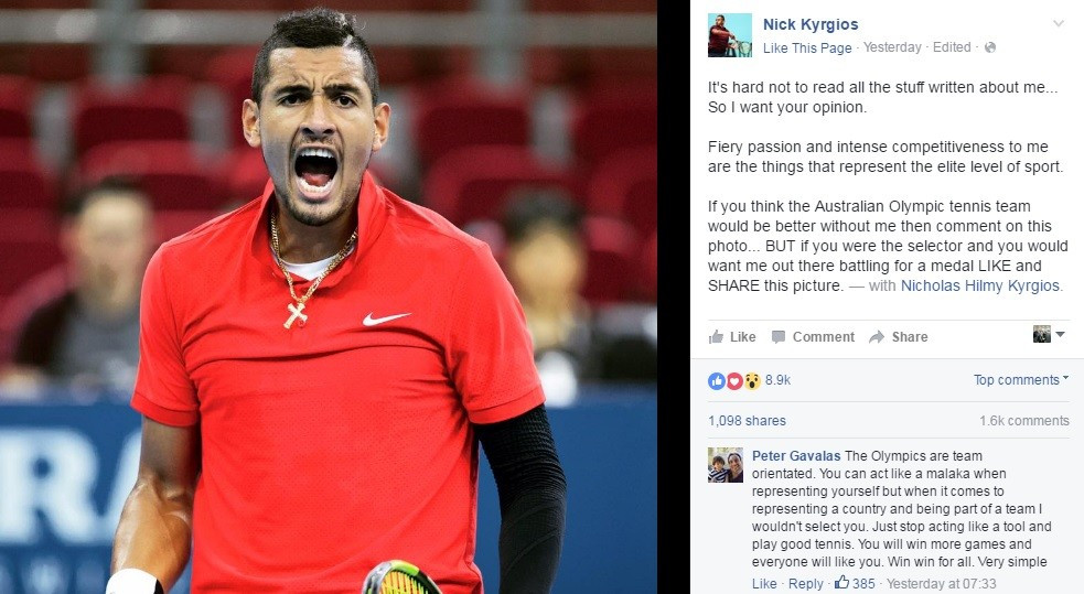 The controversial Australian star posted a photo on Facebook and asked fans to like it if they wanted him to compete at Rio 2016