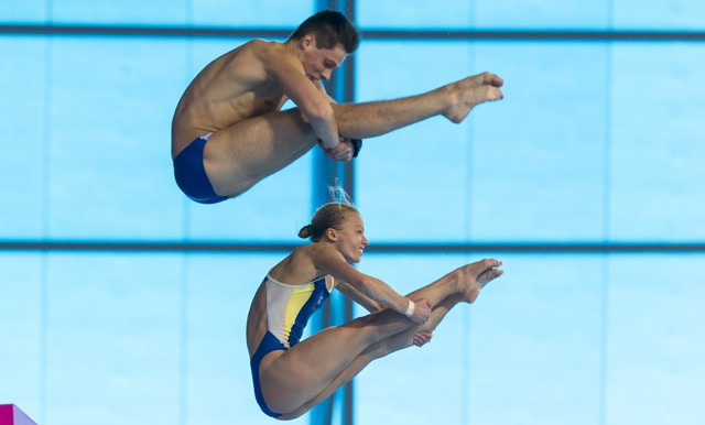 Ukraine's Iuliia Prokopchuk and Maksym Dolgov triumphed in the mixed 10m synchro final