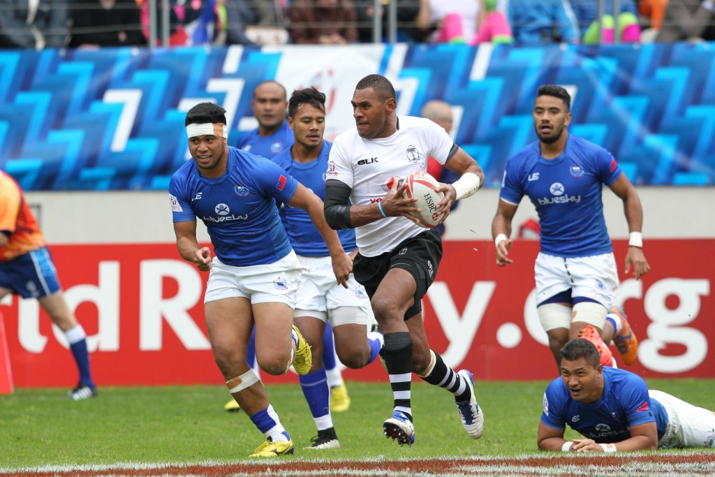 Defending champions Fiji are safely through to the quarter-finals along with South Africa and New Zealand ©World Rugby