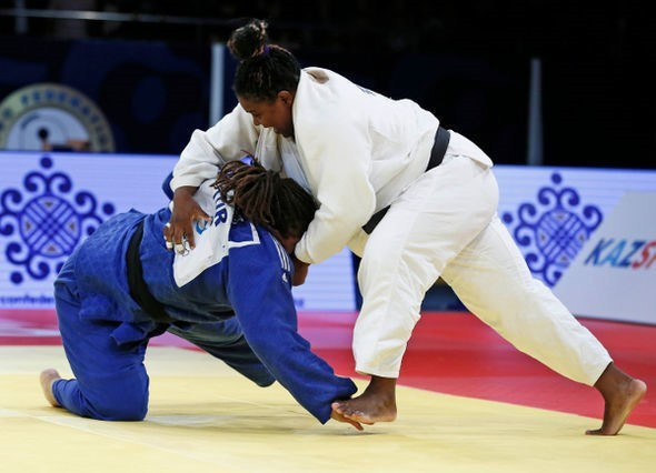 Idalys Ortiz (right) looks in good shape as she prepares to defend her Olympic title ©IJF